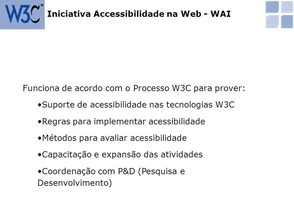 Funciona de acordo com o Processo W3C para prover: Suporte de acessibilidade nas tecnologias W3C Regras para implementar acessibilidade Métodos para a