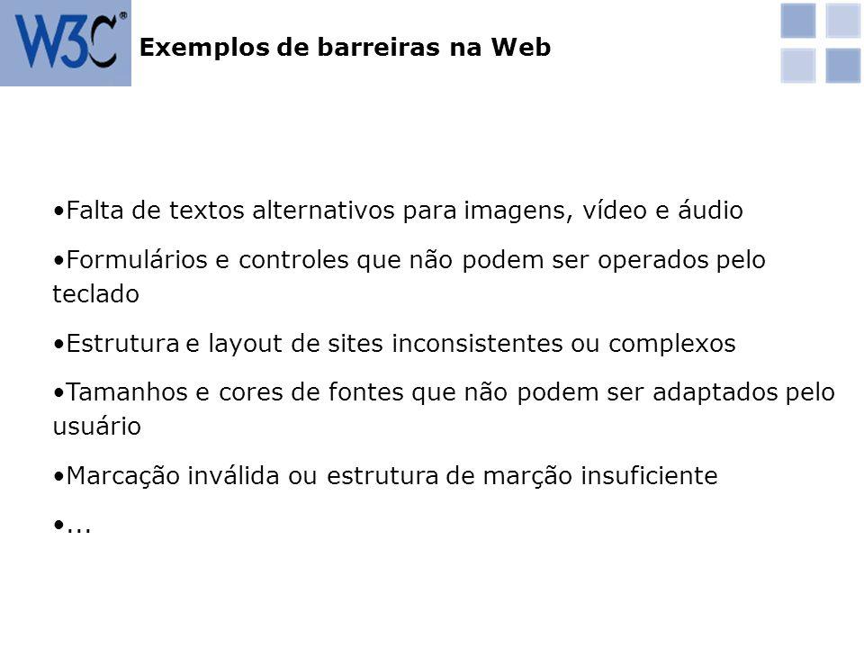 Os padrões W3C para web são desenvolvidos internacionalmente de uma maneira cooperada Os padrões W3C para web são livres de royalties e estão disponíveis gratuitamente O processo de desenvolvimento dos padrões é aberto com diversas maneiras de participação Há política para traduções voluntárias ou autorizadas Os padrões W3C para web são reconhecidos em diversos países, inclusive o Brasil Padrões W3C para acessibilidade na web