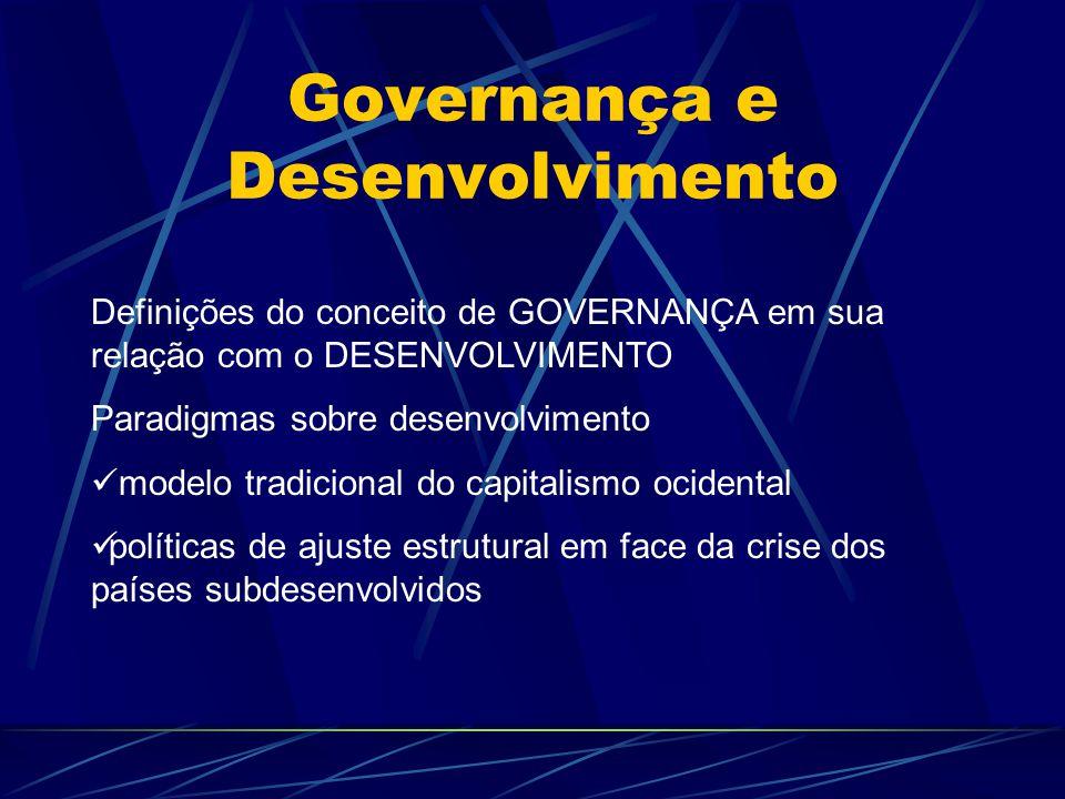Governança e Desenvolvimento Definições do conceito de GOVERNANÇA em sua relação com o DESENVOLVIMENTO Paradigmas sobre desenvolvimento modelo tradici