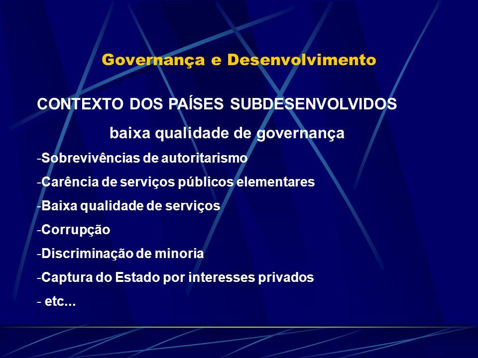 Governança e Desenvolvimento CONTEXTO DOS PAÍSES SUBDESENVOLVIDOS baixa qualidade de governança -Sobrevivências de autoritarismo -Carência de serviços