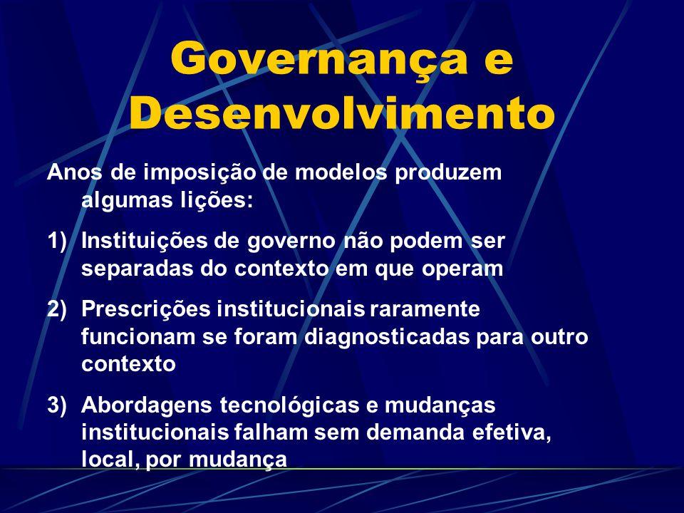 Governança e Desenvolvimento Anos de imposição de modelos produzem algumas lições: 1)Instituições de governo não podem ser separadas do contexto em qu