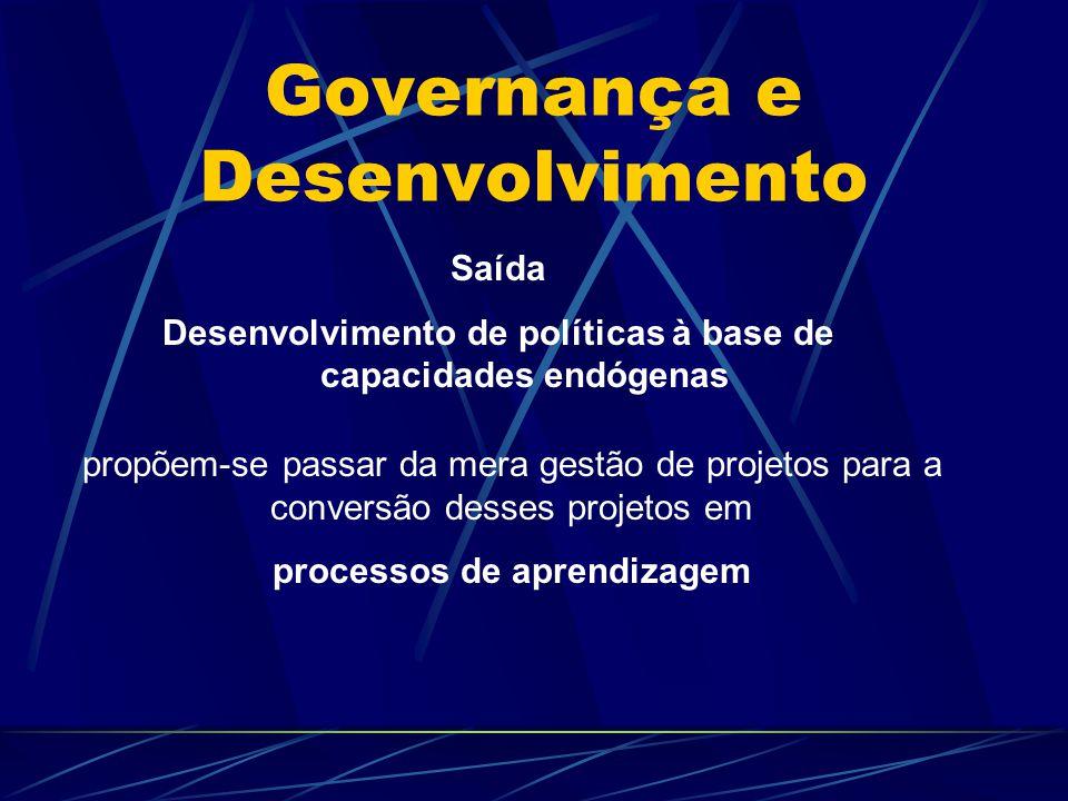 Governança e Desenvolvimento Saída Desenvolvimento de políticas à base de capacidades endógenas propõem-se passar da mera gestão de projetos para a co