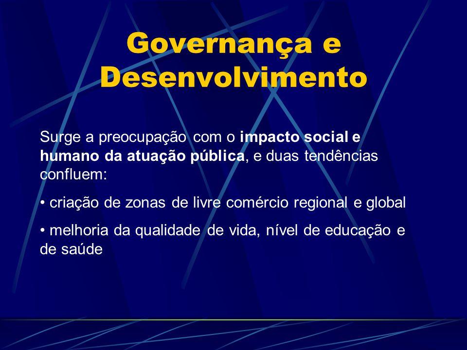 Governança e Desenvolvimento Surge a preocupação com o impacto social e humano da atuação pública, e duas tendências confluem: criação de zonas de liv