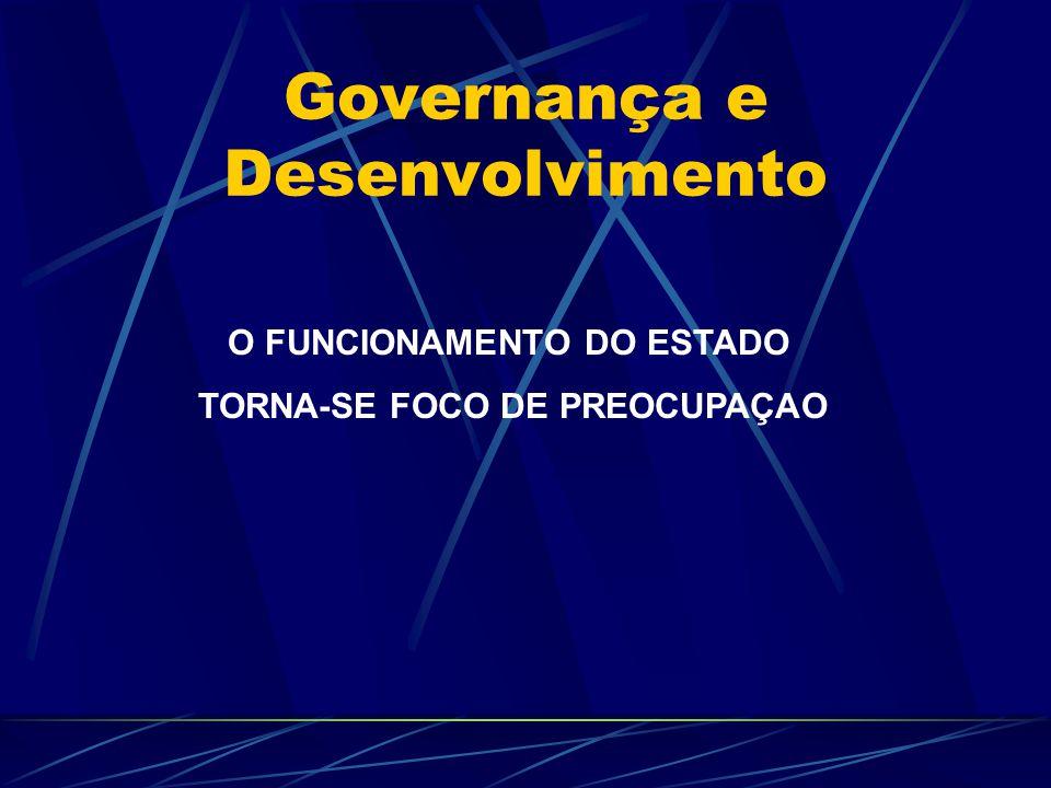 Governança e Desenvolvimento GOVERNANÇA EM PAÍSES SUBDESENVOLVIDOS ASSUME OUTRAS PAUTAS DESENVOLVIMENTO DE CAPACIDADES