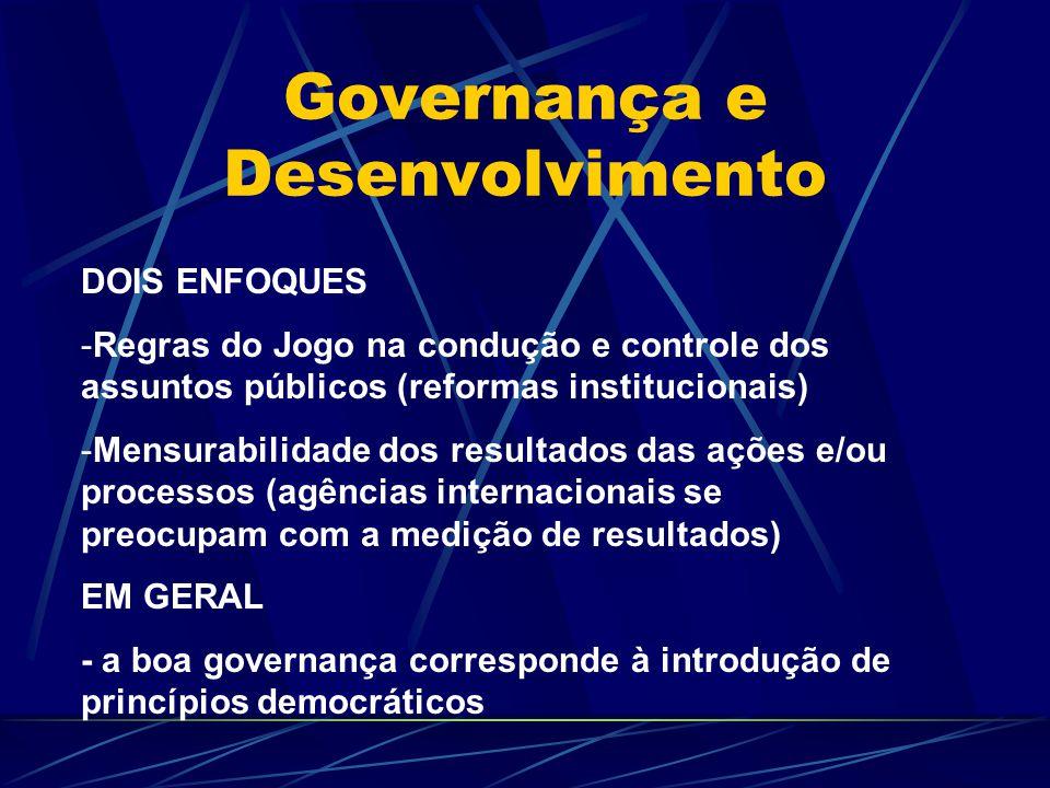 Governança e Desenvolvimento DOIS ENFOQUES -Regras do Jogo na condução e controle dos assuntos públicos (reformas institucionais) -Mensurabilidade dos