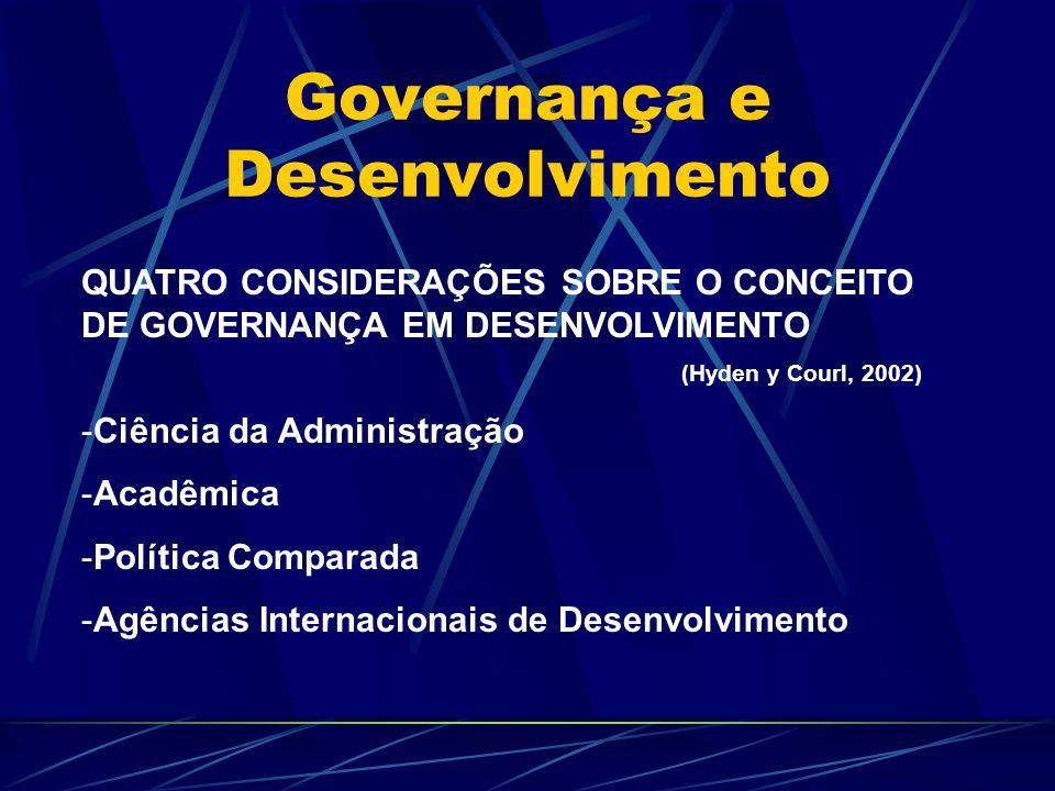 Governança e Desenvolvimento CIÊNCIA DA ADMINISTRAÇAO (Hyden y Courl, 2002) Governança resulta da interação entre agentes privados e públicos (indivíduos e organizações) Enfoque descritivo e normativo Define as qualidades da boa governança: Transparência Participação Responsabilidade