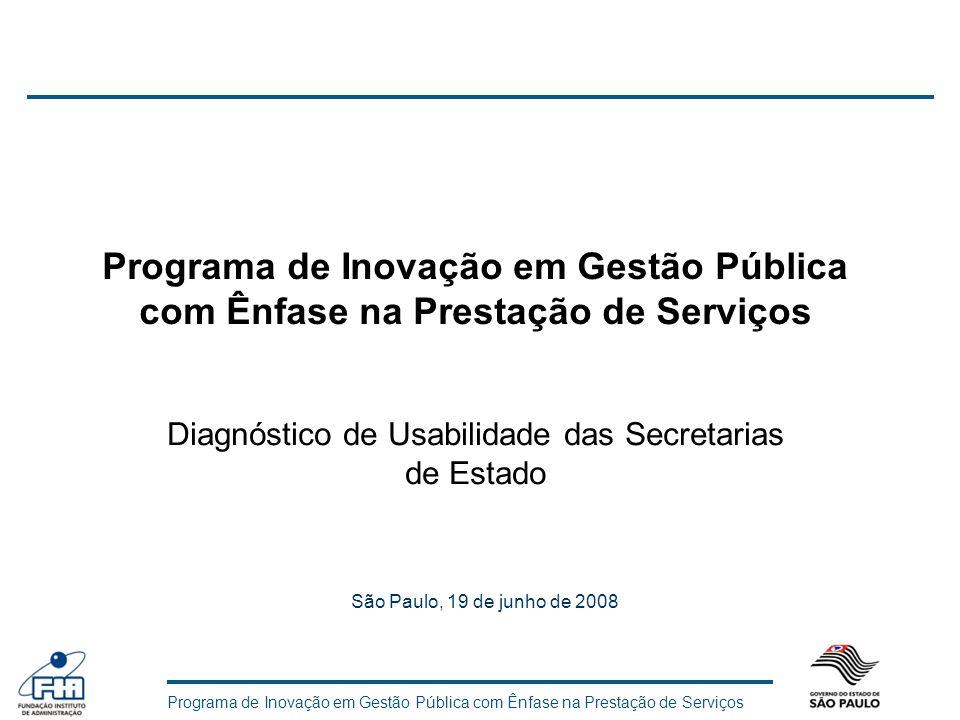 Programa de Inovação em Gestão Pública com Ênfase na Prestação de Serviços Diagnóstico de Usabilidade das Secretarias de Estado São Paulo, 19 de junho