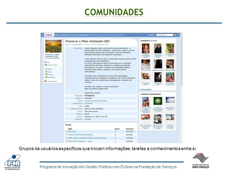 Programa de Inovação em Gestão Pública com Ênfase na Prestação de Serviços Grupos de usuários específicos que trocam informações, tarefas e conhecimen