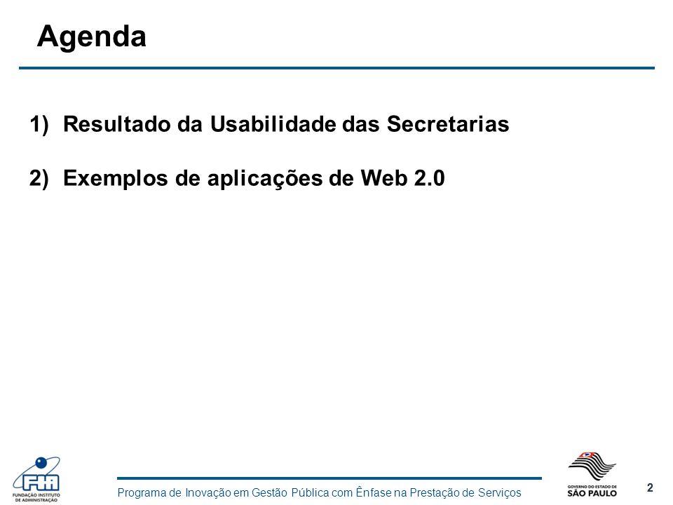 Programa de Inovação em Gestão Pública com Ênfase na Prestação de Serviços 2 2 Agenda 1)Resultado da Usabilidade das Secretarias 2)Exemplos de aplicaç
