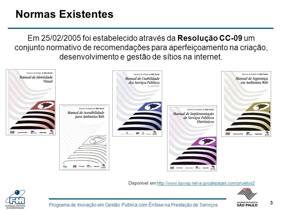 Programa de Inovação em Gestão Pública com Ênfase na Prestação de Serviços 3 3 Normas Existentes Em 25/02/2005 foi estabelecido através da Resolução C