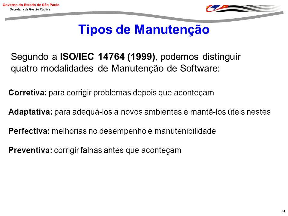 9 Tipos de Manutenção Corretiva: para corrigir problemas depois que aconteçam Adaptativa: para adequá-los a novos ambientes e mantê-los úteis nestes Perfectiva: melhorias no desempenho e manutenibilidade Preventiva: corrigir falhas antes que aconteçam Segundo a ISO/IEC 14764 (1999), podemos distinguir quatro modalidades de Manutenção de Software: