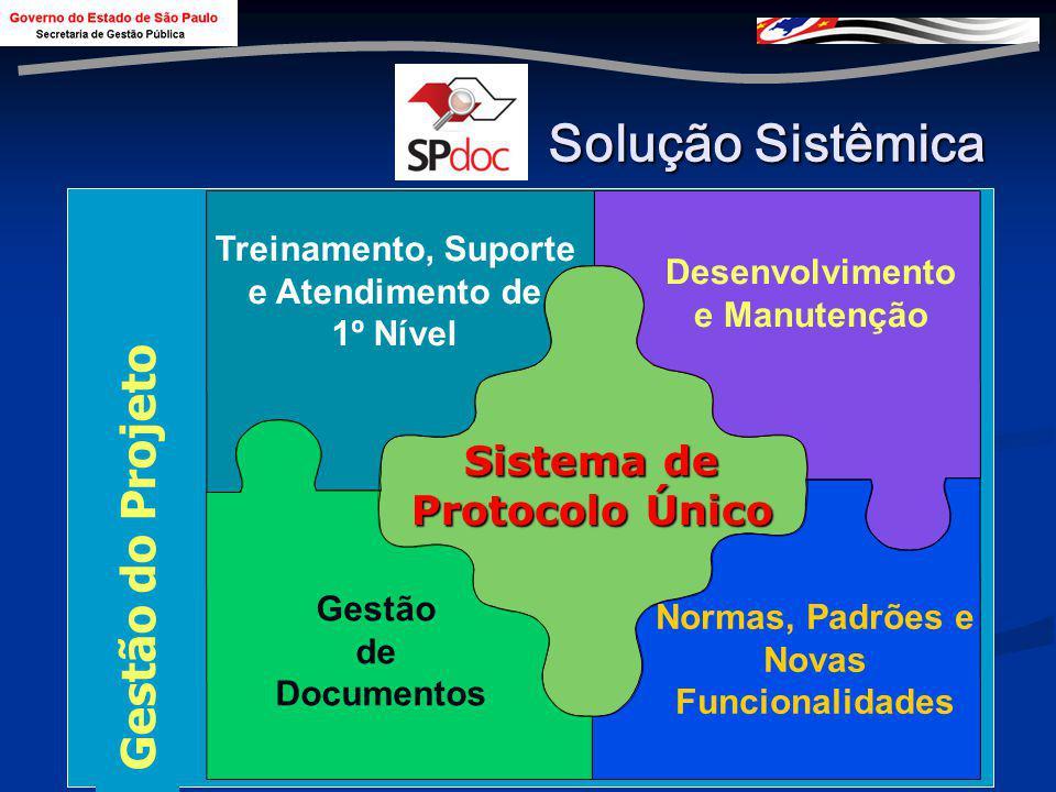 5 Solução Sistêmica Treinamento, Suporte e Atendimento de 1º Nível Desenvolvimento e Manutenção Gestão de Documentos Normas, Padrões e Novas Funcionalidades Sistema de Protocolo Único Gestão do Projeto