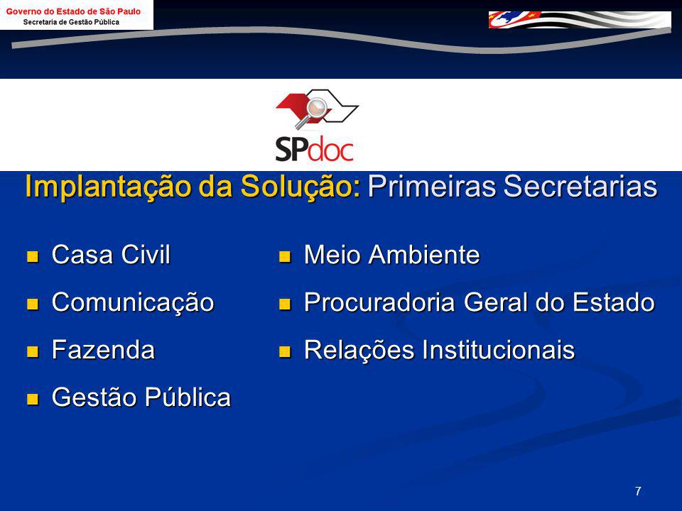 6 Linha do Tempo Instituição do Grupo Técnico de Protocolo Único Abril 2004 Projeto Designado à Secretaria de Gestão Agosto 2007 Planejamento para Imp