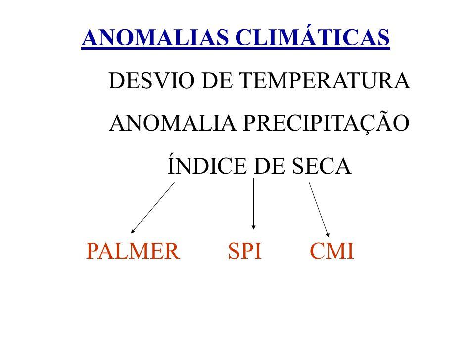 ANOMALIAS CLIMÁTICAS DESVIO DE TEMPERATURA ANOMALIA PRECIPITAÇÃO ÍNDICE DE SECA PALMER SPI CMI