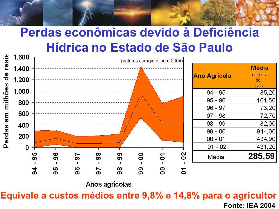 Perdas econômicas devido à Deficiência Hídrica no Estado de São Paulo Equivale a custos médios entre 9,8% e 14,8% para o agricultor Fonte: IEA 2004 (V
