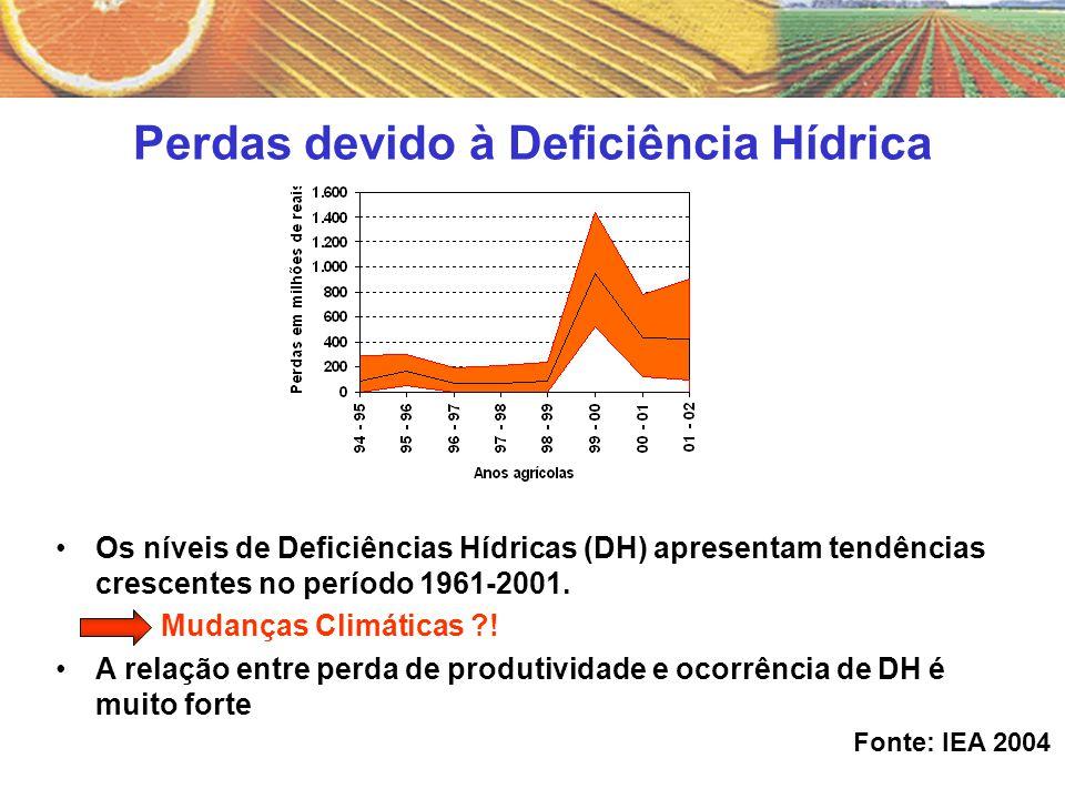 Perdas devido à Deficiência Hídrica Os níveis de Deficiências Hídricas (DH) apresentam tendências crescentes no período 1961-2001. Mudanças Climáticas
