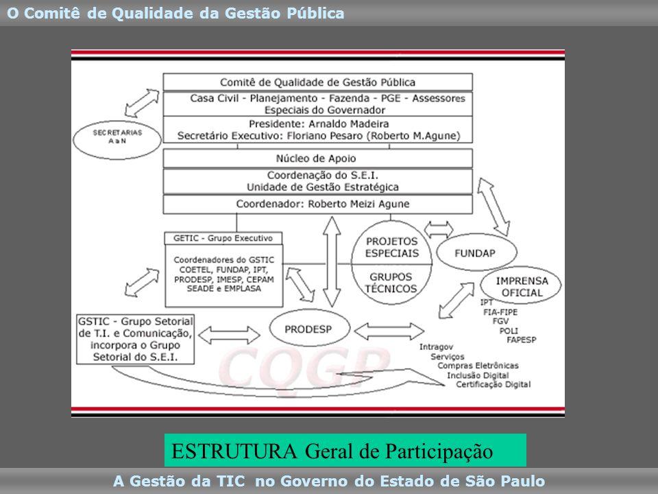 A Gestão da TIC no Governo do Estado de São Paulo O Comitê de Qualidade da Gestão Pública ESTRUTURA Geral de Participação