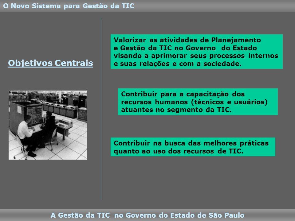 Objetivos Centrais O Novo Sistema para Gestão da TIC A Gestão da TIC no Governo do Estado de São Paulo Valorizar as atividades de Planejamento e Gestão da TIC no Governo do Estado visando a aprimorar seus processos internos e suas relações e com a sociedade.