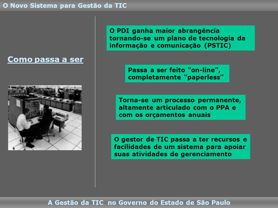 O Novo Sistema para Gestão da TIC A Gestão da TIC no Governo do Estado de São Paulo Como passa a ser O PDI ganha maior abrangência tornando-se um plano de tecnologia da informação e comunicação (PSTIC) Passa a ser feito on-line, completamente paperless O gestor de TIC passa a ter recursos e facilidades de um sistema para apoiar suas atividades de gerenciamento Torna-se um processo permanente, altamente articulado com o PPA e com os orçamentos anuais