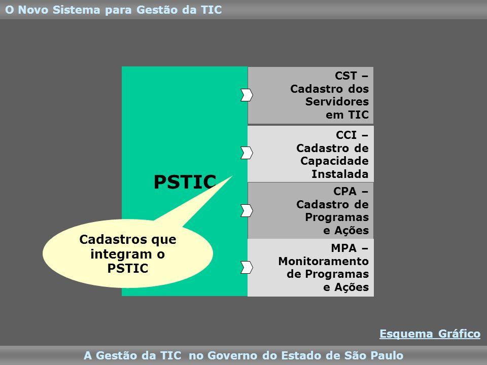 PSTIC CST – Cadastro dos Servidores em TIC CCI – Cadastro de Capacidade Instalada CPA – Cadastro de Programas e Ações MPA – Monitoramento de Programas e Ações Cadastros que integram o PSTIC O Novo Sistema para Gestão da TIC A Gestão da TIC no Governo do Estado de São Paulo Esquema Gráfico