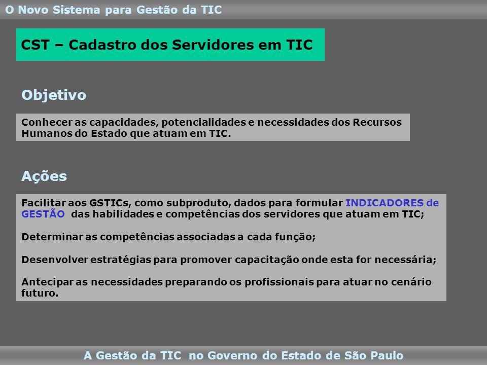 O Novo Sistema para Gestão da TIC A Gestão da TIC no Governo do Estado de São Paulo Facilitar aos GSTICs, como subproduto, dados para formular INDICADORES de GESTÃO das habilidades e competências dos servidores que atuam em TIC; Determinar as competências associadas a cada função; Desenvolver estratégias para promover capacitação onde esta for necessária; Antecipar as necessidades preparando os profissionais para atuar no cenário futuro.