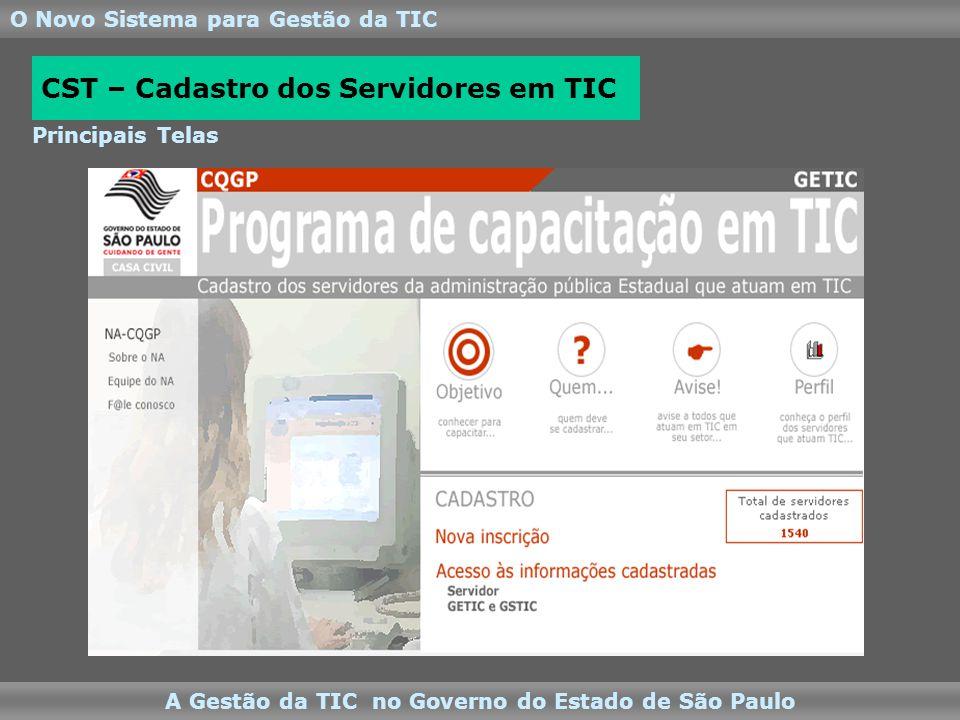 O Novo Sistema para Gestão da TIC A Gestão da TIC no Governo do Estado de São Paulo Principais Telas CST – Cadastro dos Servidores em TIC