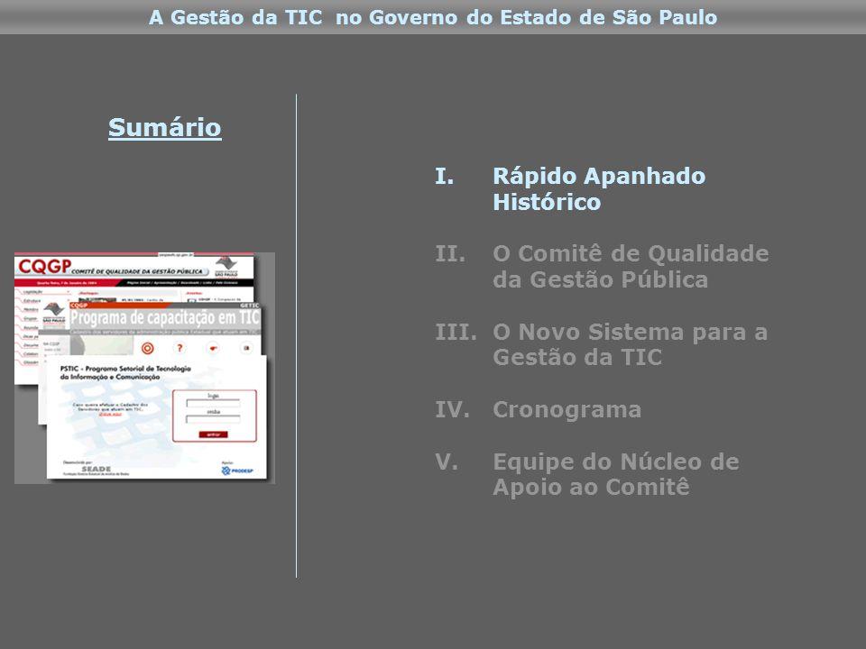 I.Rápido Apanhado Histórico II.O Comitê de Qualidade da Gestão Pública III.O Novo Sistema para a Gestão da TIC IV.Cronograma V.Equipe do Núcleo de Apoio ao Comitê Sumário A Gestão da TIC no Governo do Estado de São Paulo