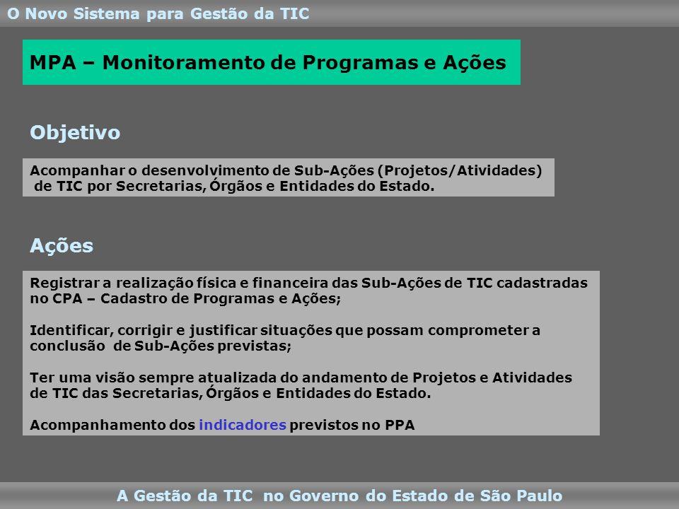 O Novo Sistema para Gestão da TIC A Gestão da TIC no Governo do Estado de São Paulo Registrar a realização física e financeira das Sub-Ações de TIC cadastradas no CPA – Cadastro de Programas e Ações; Identificar, corrigir e justificar situações que possam comprometer a conclusão de Sub-Ações previstas; Ter uma visão sempre atualizada do andamento de Projetos e Atividades de TIC das Secretarias, Órgãos e Entidades do Estado.