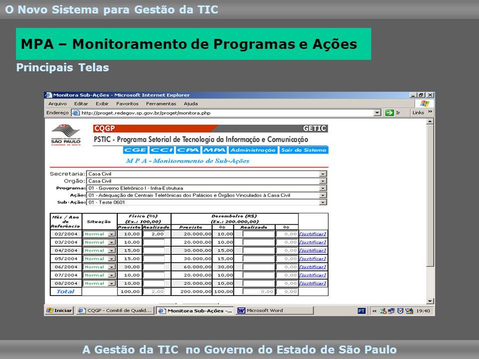O Novo Sistema para Gestão da TIC A Gestão da TIC no Governo do Estado de São Paulo Principais Telas MPA – Monitoramento de Programas e Ações