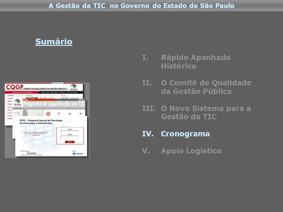 A Gestão da TIC no Governo do Estado de São Paulo I.Rápido Apanhado Histórico II.O Comitê de Qualidade da Gestão Pública III.O Novo Sistema para a Gestão da TIC IV.Cronograma V.Apoio Logístico Sumário