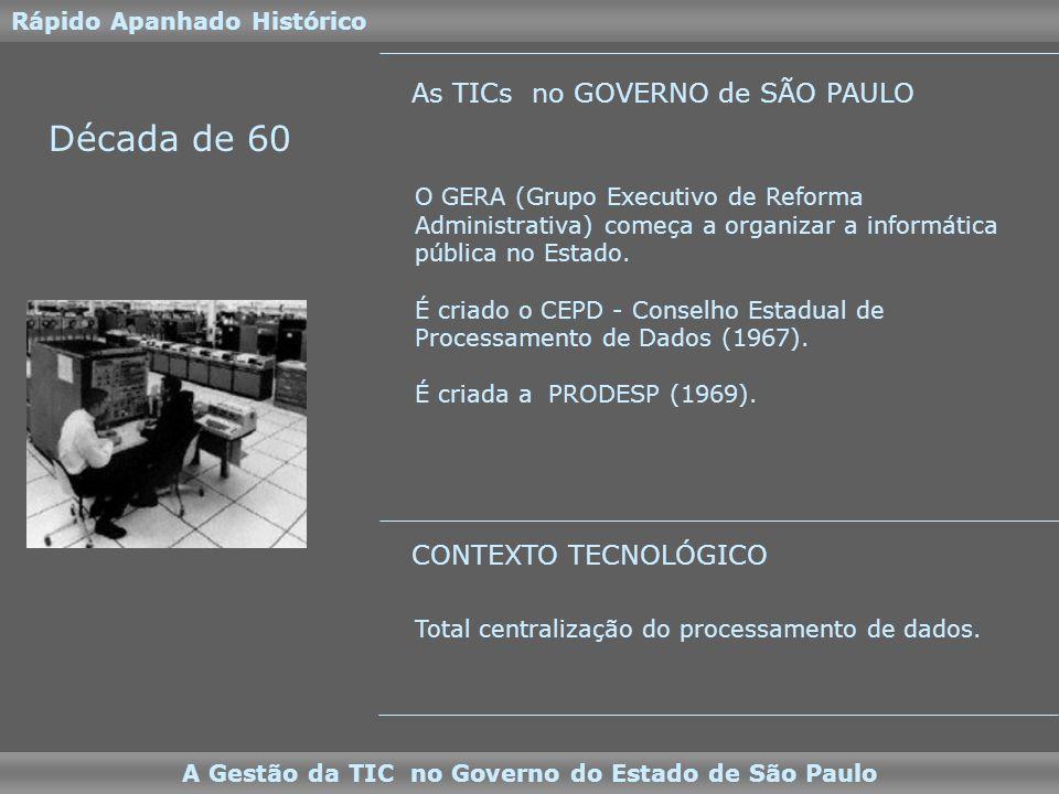 Década de 60 O GERA (Grupo Executivo de Reforma Administrativa) começa a organizar a informática pública no Estado.