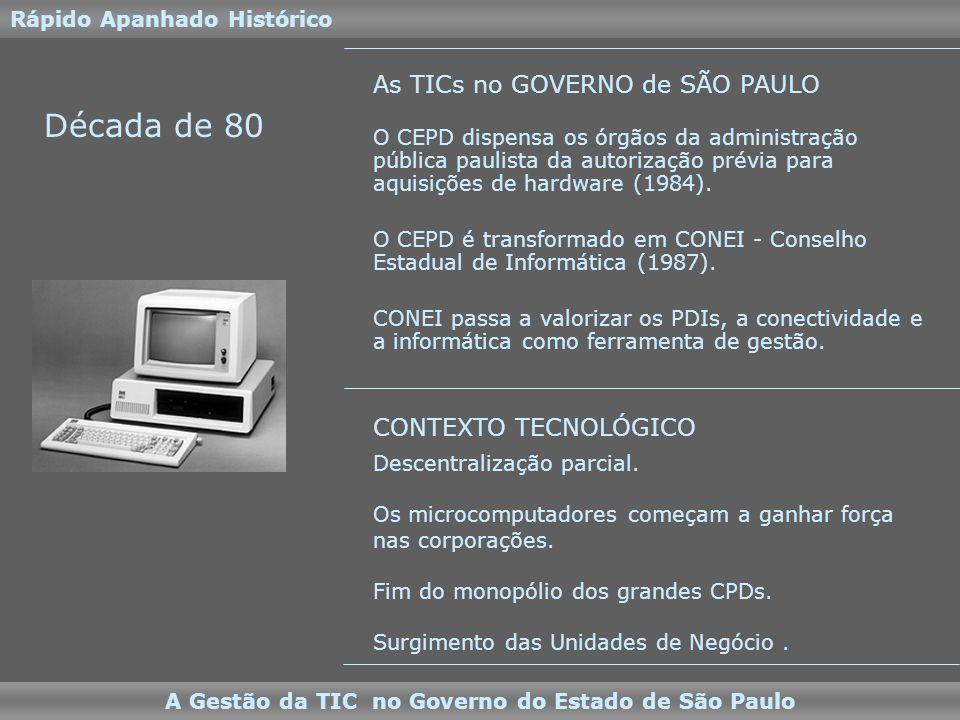 Década de 90 Rápido Apanhado Histórico A Gestão da TIC no Governo do Estado de São Paulo A descentralização ganha força total.