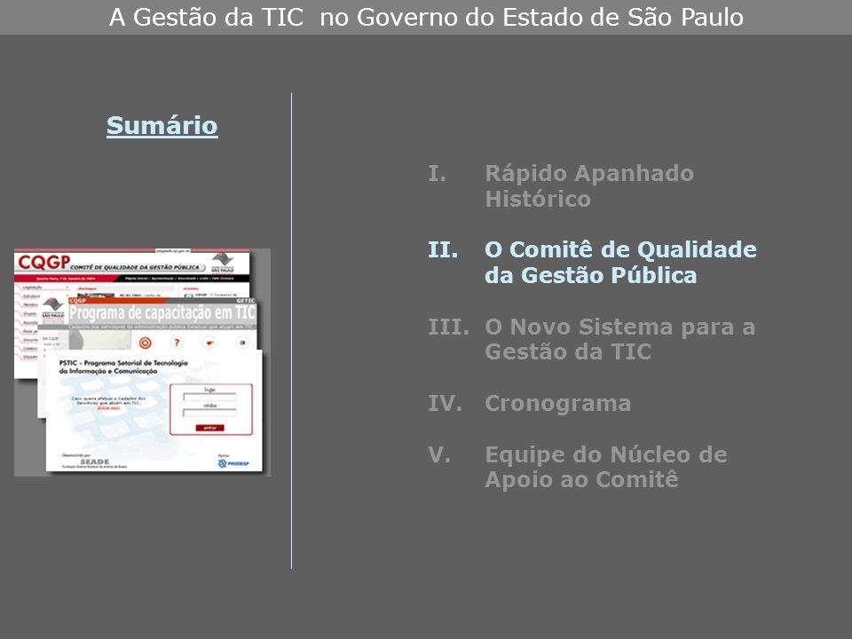 A Gestão da TIC no Governo do Estado de São Paulo I.Rápido Apanhado Histórico II.O Comitê de Qualidade da Gestão Pública III.O Novo Sistema para a Gestão da TIC IV.Cronograma V.Equipe do Núcleo de Apoio ao Comitê Sumário
