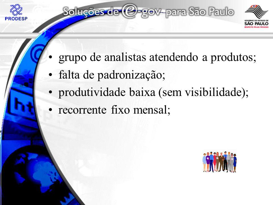 grupo de analistas atendendo a produtos; falta de padronização; produtividade baixa (sem visibilidade); recorrente fixo mensal;
