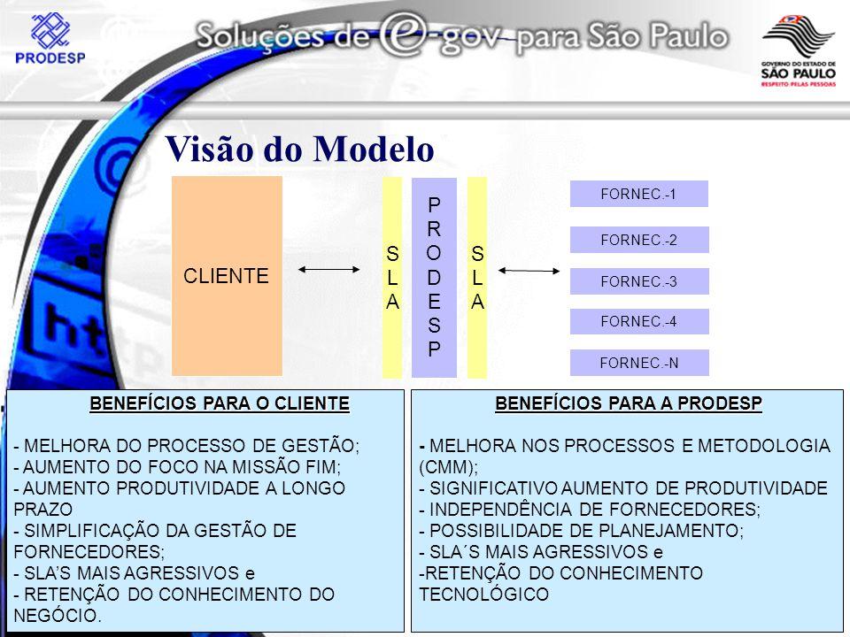 BENEFÍCIOS PARA O CLIENTE - MELHORA DO PROCESSO DE GESTÃO; - AUMENTO DO FOCO NA MISSÃO FIM; - AUMENTO PRODUTIVIDADE A LONGO PRAZO - SIMPLIFICAÇÃO DA GESTÃO DE FORNECEDORES; - SLAS MAIS AGRESSIVOS e - RETENÇÃO DO CONHECIMENTO DO NEGÓCIO.