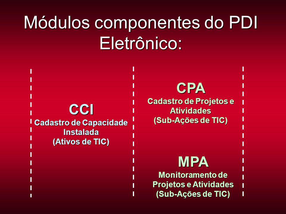 CPA Cadastro de Projetos e Atividades (Sub-Ações de TIC) Módulos componentes do PDI Eletrônico: CCI Cadastro de Capacidade Instalada (Ativos de TIC) MPA Monitoramento de Projetos e Atividades (Sub-Ações de TIC)