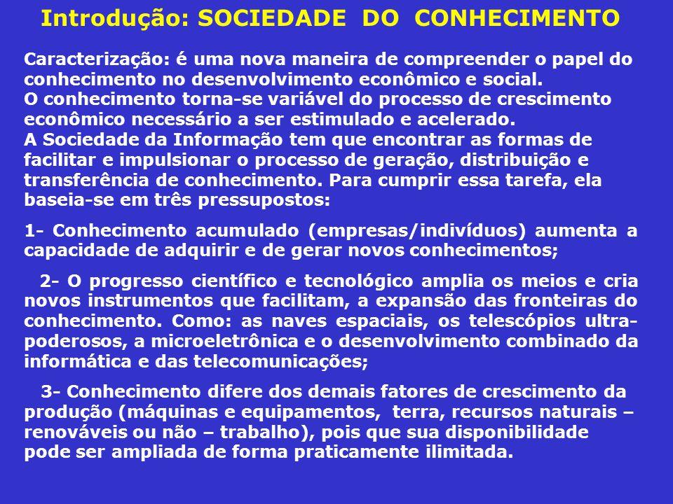Introdução: SOCIEDADE DO CONHECIMENTO Caracterização: é uma nova maneira de compreender o papel do conhecimento no desenvolvimento econômico e social.
