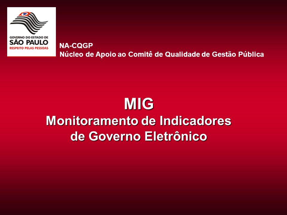 MIG Monitoramento de Indicadores de Governo Eletrônico NA-CQGP Núcleo de Apoio ao Comitê de Qualidade de Gestão Pública