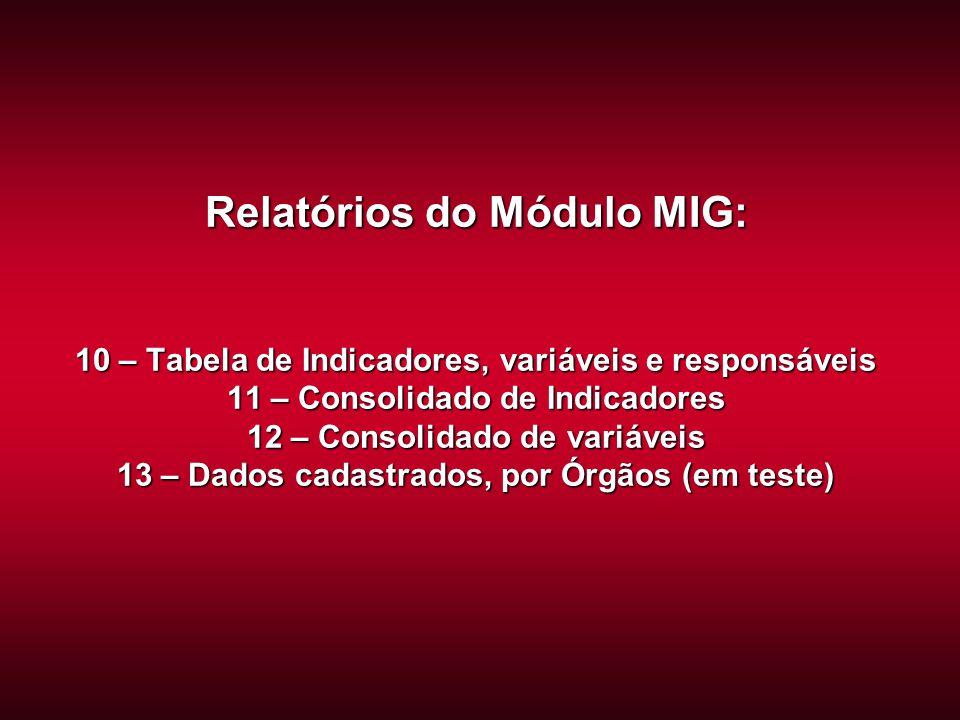 Relatórios do Módulo MIG: 10 – Tabela de Indicadores, variáveis e responsáveis 11 – Consolidado de Indicadores 12 – Consolidado de variáveis 13 – Dados cadastrados, por Órgãos (em teste)