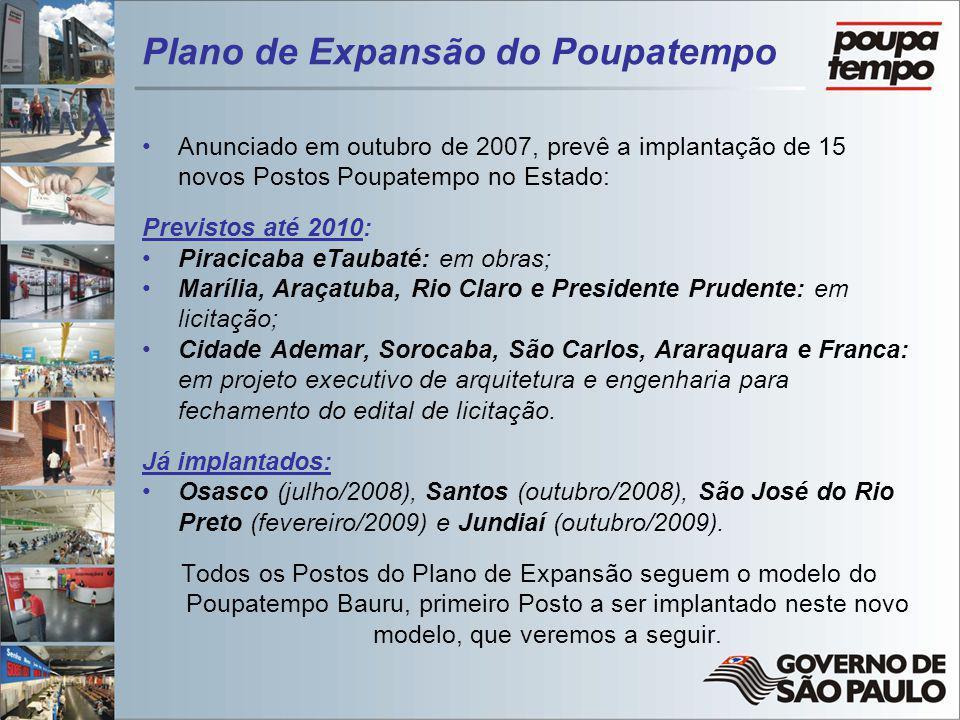 Plano de Expansão do Poupatempo Anunciado em outubro de 2007, prevê a implantação de 15 novos Postos Poupatempo no Estado: Previstos até 2010: Piracic