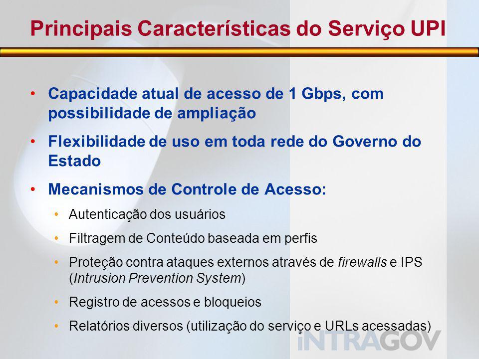 Principais Características do Serviço UPI Capacidade atual de acesso de 1 Gbps, com possibilidade de ampliação Flexibilidade de uso em toda rede do Governo do Estado Mecanismos de Controle de Acesso: Autenticação dos usuários Filtragem de Conteúdo baseada em perfis Proteção contra ataques externos através de firewalls e IPS (Intrusion Prevention System) Registro de acessos e bloqueios Relatórios diversos (utilização do serviço e URLs acessadas)