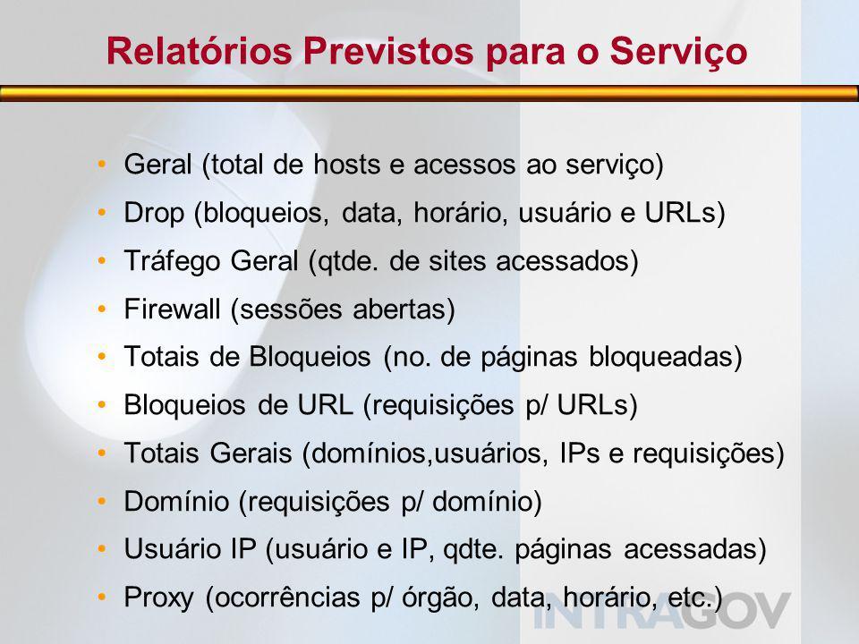 Relatórios Previstos para o Serviço Geral (total de hosts e acessos ao serviço) Drop (bloqueios, data, horário, usuário e URLs) Tráfego Geral (qtde.