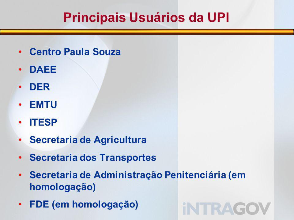 Principais Usuários da UPI Centro Paula Souza DAEE DER EMTU ITESP Secretaria de Agricultura Secretaria dos Transportes Secretaria de Administração Penitenciária (em homologação) FDE (em homologação)