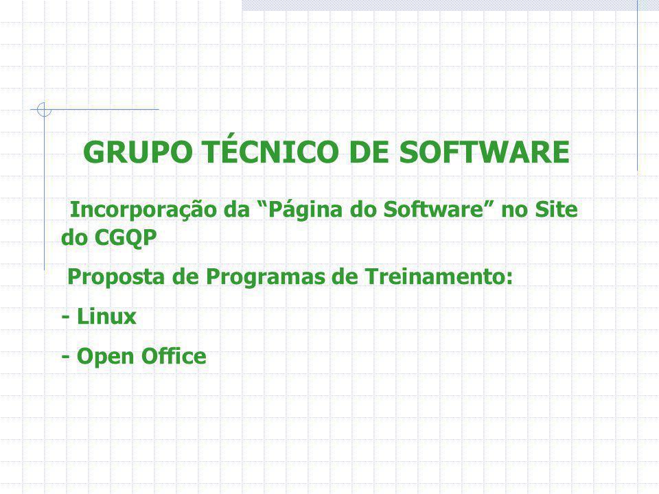 GRUPO TÉCNICO DE SOFTWARE Incorporação da Página do Software no Site do CGQP Proposta de Programas de Treinamento: - Linux - Open Office