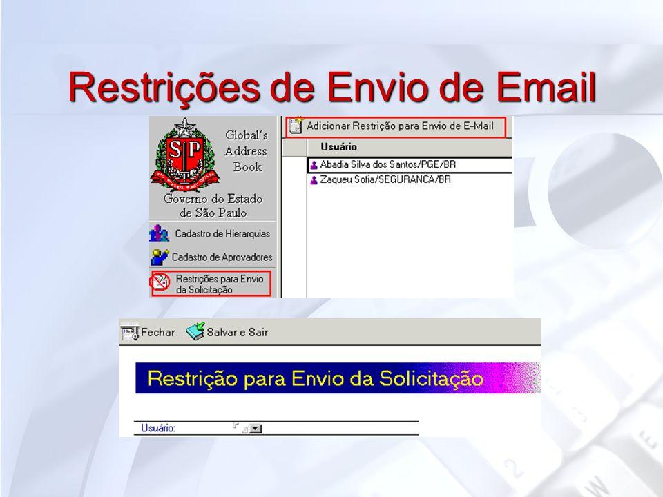 Restrições de Envio de Email