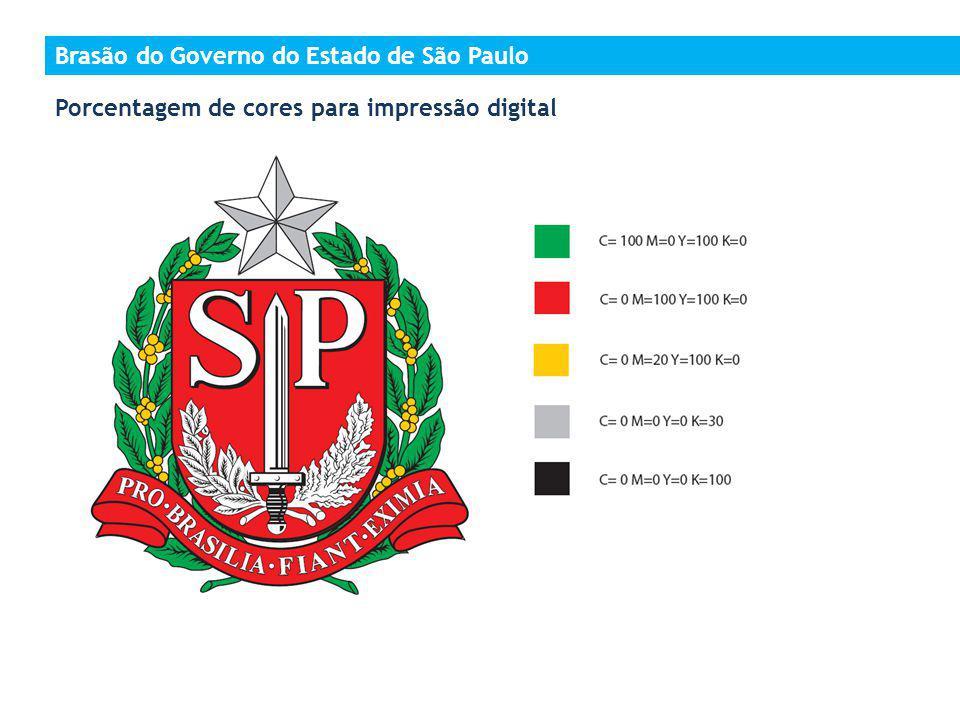 Porcentagem de cores para impressão digital Brasão do Governo do Estado de São Paulo
