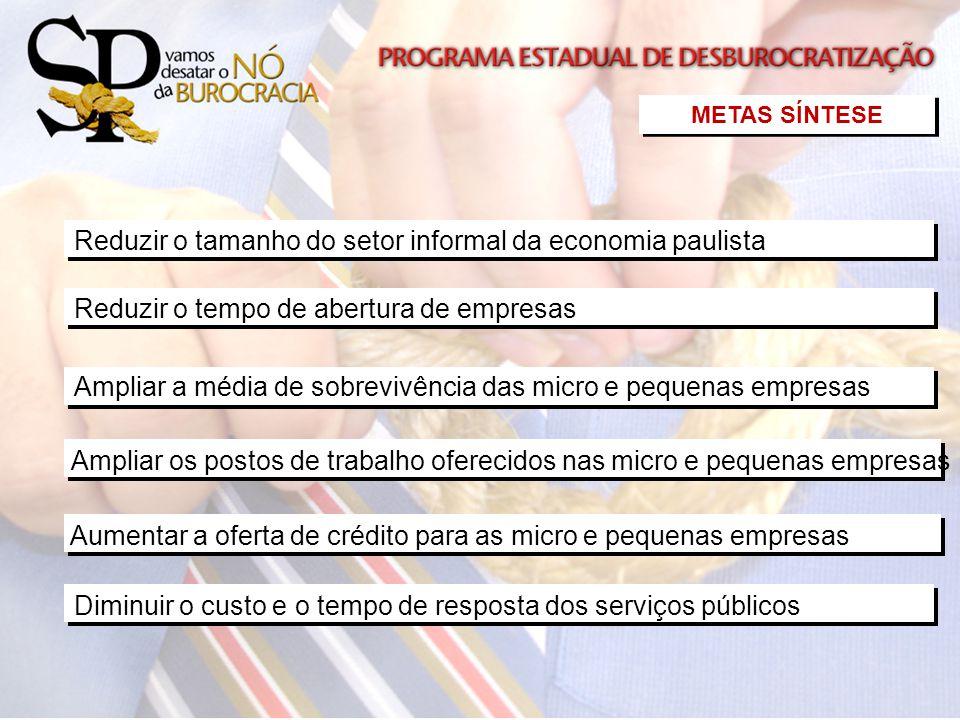 Ampliar a média de sobrevivência das micro e pequenas empresas Diminuir o custo e o tempo de resposta dos serviços públicos Reduzir o tamanho do setor
