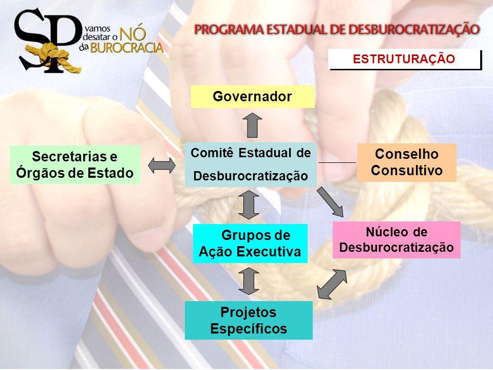 Secretarias e Órgãos de Estado Governador Comitê Estadual de Desburocratização Conselho Consultivo Grupos de Ação Executiva Projetos Específicos Núcle