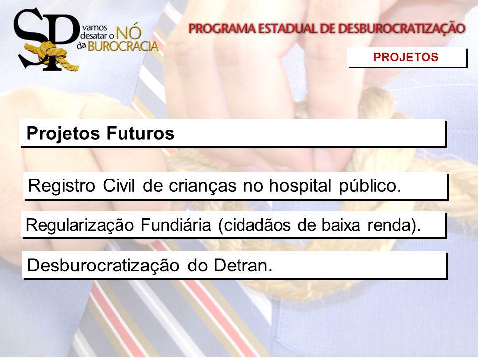 Regularização Fundiária (cidadãos de baixa renda). Desburocratização do Detran. Projetos Futuros PROJETOS Registro Civil de crianças no hospital públi