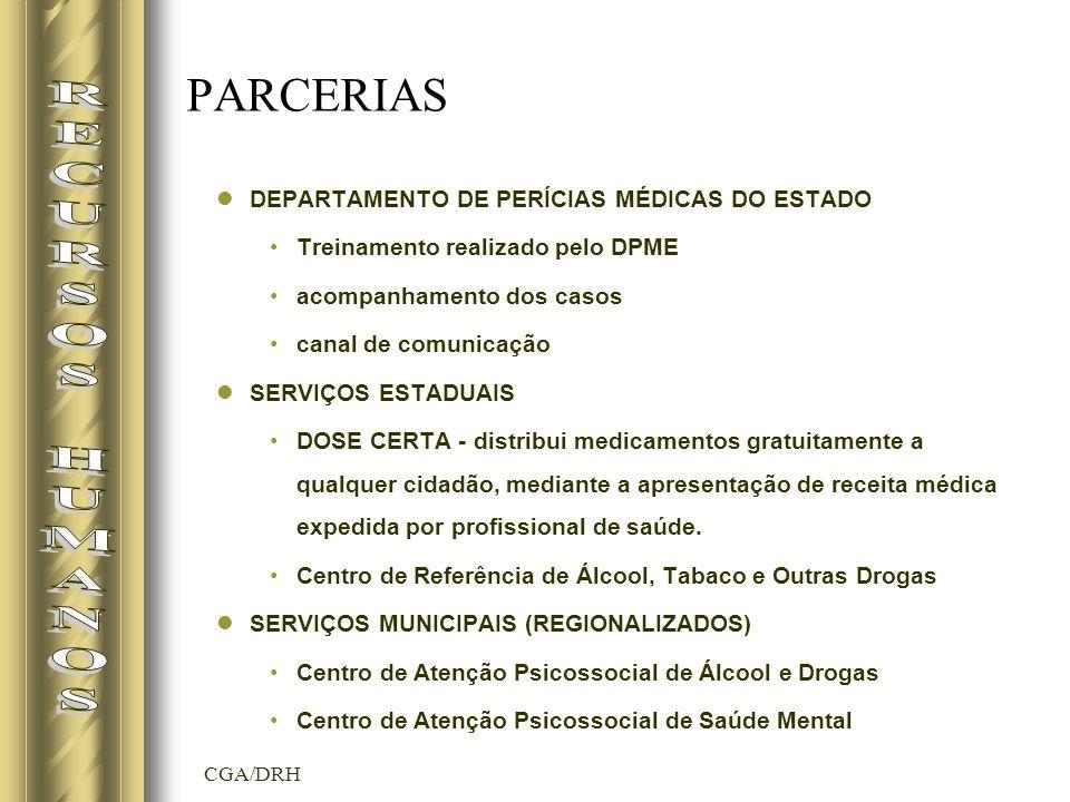 CGA/DRH PARCERIAS DEPARTAMENTO DE PERÍCIAS MÉDICAS DO ESTADO Treinamento realizado pelo DPME acompanhamento dos casos canal de comunicação SERVIÇOS ESTADUAIS DOSE CERTA - distribui medicamentos gratuitamente a qualquer cidadão, mediante a apresentação de receita médica expedida por profissional de saúde.